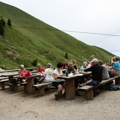 Guided walking in Slovenia-Slovenia - outside a mountain hut